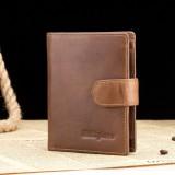 Ekphero Men Genuine Leather Short Wallet Vintage Zipper Coin Bag