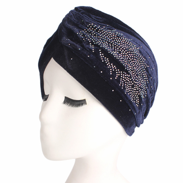 f622955e1073a Womens Pleuche Skullies Beanies Thin Bonnet Cap Autumn Casual Diamond Beanies  Hat Turban
