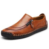 Shoes Men Comfy Hand Stitching Genuine Leather Side Zipper Slip On Oxfords