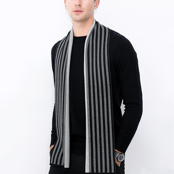0fd89a3012877 Mens Classic Winter Warm Knitted Shawl Striped Windproof Thickening ...