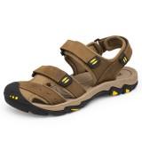 Large Size Men Comfy Genuine Leather Breathable Hook Loop Sandals Shoes