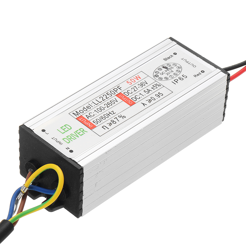 50w Led Power Supply: 50w Waterproof Power Supply AC85-265V To 27-36V LED Power