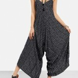 Sexy Women Spaghetti Strap V-Neck Striped Wide Leg Jumpsuit