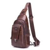 Bullcaptain Genuine Leather Bag Vintage Sling Bag Chest Bag for Men