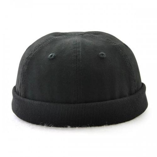 Men Solid Adjustable Warm Skullcap Sailor Cap Rolled Cuff Retro Brimless Hat