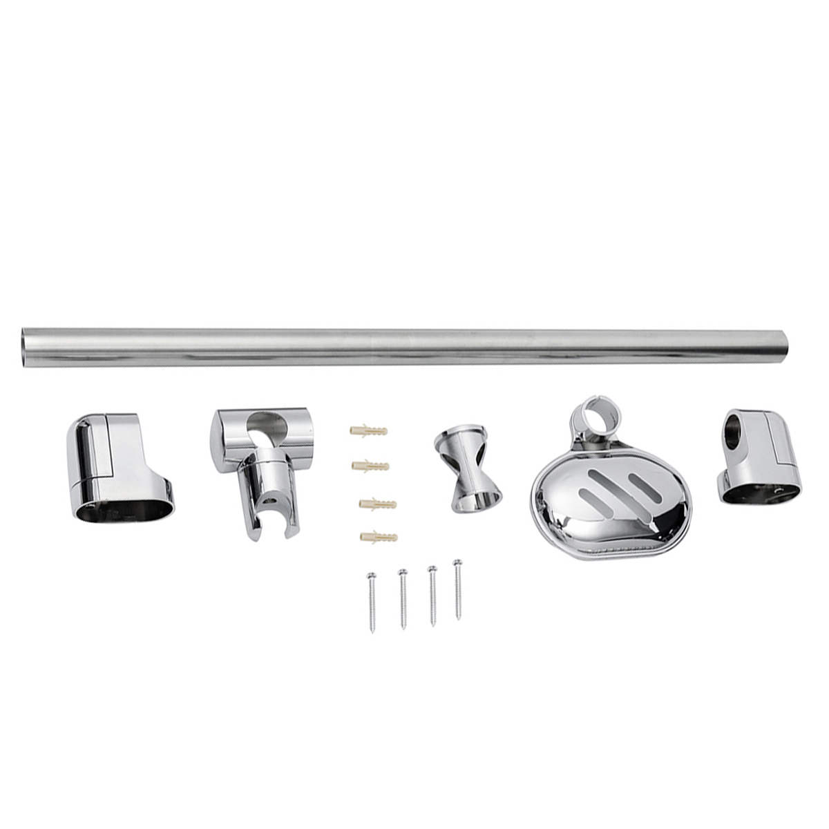Stainless Steel Adjustable Riser Rail Bar Shower Stand Soap Stand Shower Head Towel Holder 610mm