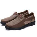 Men Hand Stitching Soft Sole Mesh Oxfords Comfy Slip On Shoes