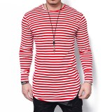 Plus Size Fashion Mens Stripes Printing Long Sleeve Slim Fit T-shirt Casual Graphic Tops Tees