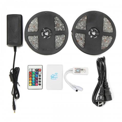 2PCS 5M 5050 SMD RGB Waterproof LED Strip Lights + Wifi Alexa Amazon Controller + DC12V Power Supply