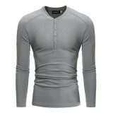 Men's Leisure V-collar Knitted T-shirts Spring Autumn Pure Color Long Sleeves  Slim Fit Tops Tees