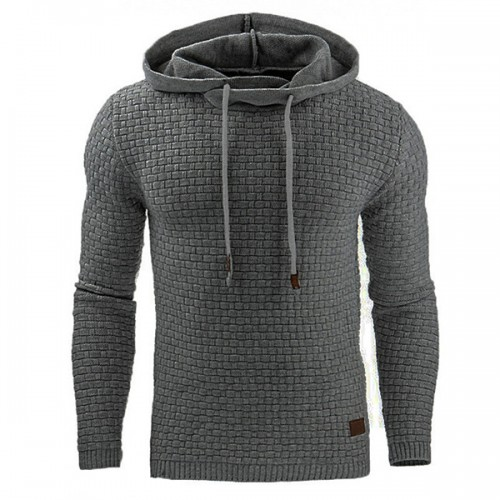 Fashion Men's Warm Jacquard Sweater Hoodies Casual Solid Color Long Sleeve Sport Hoodies