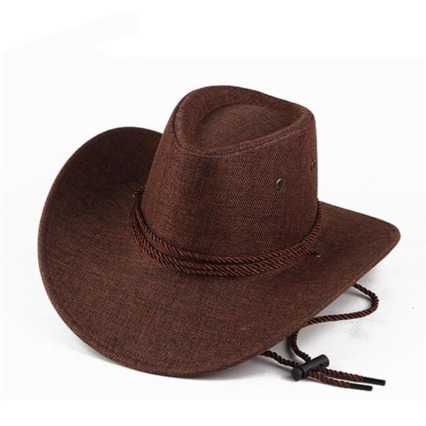 5249fc1111187 Unisex Men Women Western Cowboy Hat Outdoor Wide Brim Linen Hat with Strap