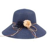 Women Folding Woven Wide Brimmed Bucket Hat Outdoor Bandage Beach Dress Visor With Bowknot