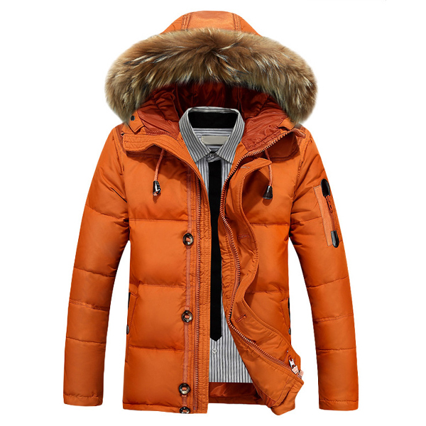 524f5214e Mens Down Jackets Thick Warm Fur Collar Hooded Parkas Winter Puffer