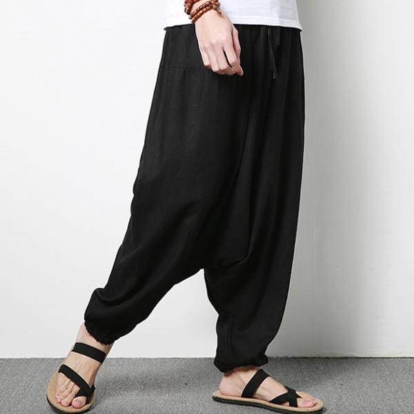 Men's Cotton Linen Harem Pants Casual Baggy Loose Trousers Fashion Wide Legs Trousers