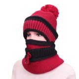 Women Warm Knitted Beanies Hat Collar Scarf Set Windproof Plus Cashmere Lining Hat With Mask
