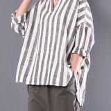 M-5XL Women V-neck Long Sleeve Casual Loose Stripe Blouses
