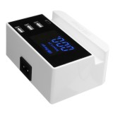 3 Port Smart USB Charger 5V 4A Charger Adapter LCD Display with Type-C Port