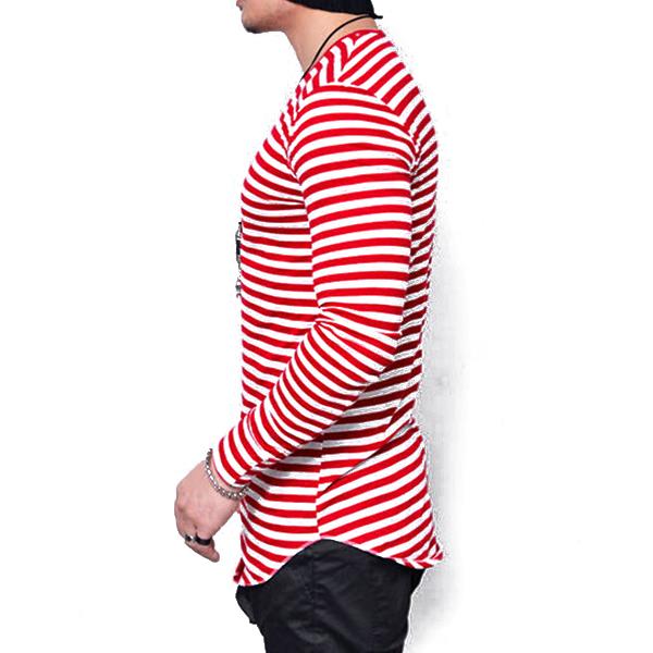Plus Size Fashion Mens Stripes Printing Long Sleeve Slim Fit T-shirt Casual Graphic Tops Tees