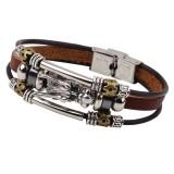 Vintage Leather Trendy Dragon Charming Bracelet Zinc Alloy Chain Bangle for Men