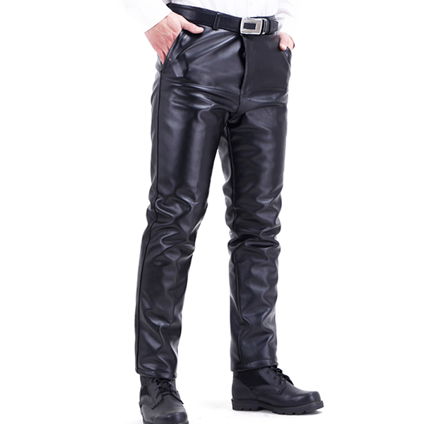 Men's Winter Plus Velvet Thick Warm PU Leather Pants Casual Straight Motorcycle Pants