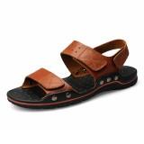 Large Size Men Comfy Breathable Genuine Leather Hook Loop Sandals Shoes