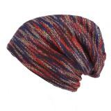 Men Stripe Knit Warm Beanies Hat Solid Plus Velvet Lining Winter Bonnet Skullies Hats