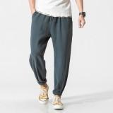 Men's Summer Loose Cotton Linen Pants Small Feet Thin Breathable Haren Slacks