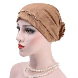 Women Muslim Beanies Flower Cotton Outdoor Casual Turban Hat