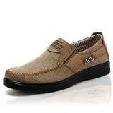 Men Old Peking Style Casual Breathable Elastic Bnad Slip On Oxfords Shoes