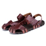Comfy Men Casual Buckle Stitching Hollow Outs Leather Sandals Shoes