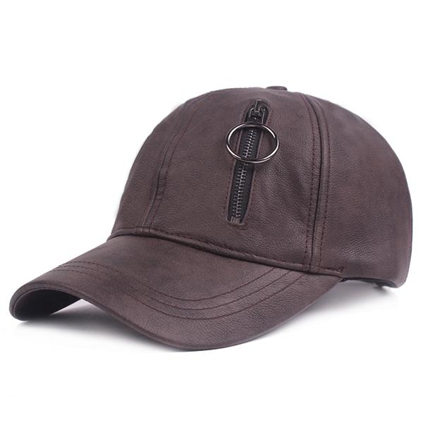 50fb3bd9 Mens Artificial Leather Zipper Baseball Cap Casual Sport Sunshade Visor  Golf Hat