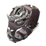 Punk Genuine Leather Wrap Wristband Bangle Alloy Eagle Bracelet for Men Women