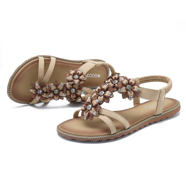 SOCOFY Women Bohemian Flower Casual Shoe Beach Flat Sandals