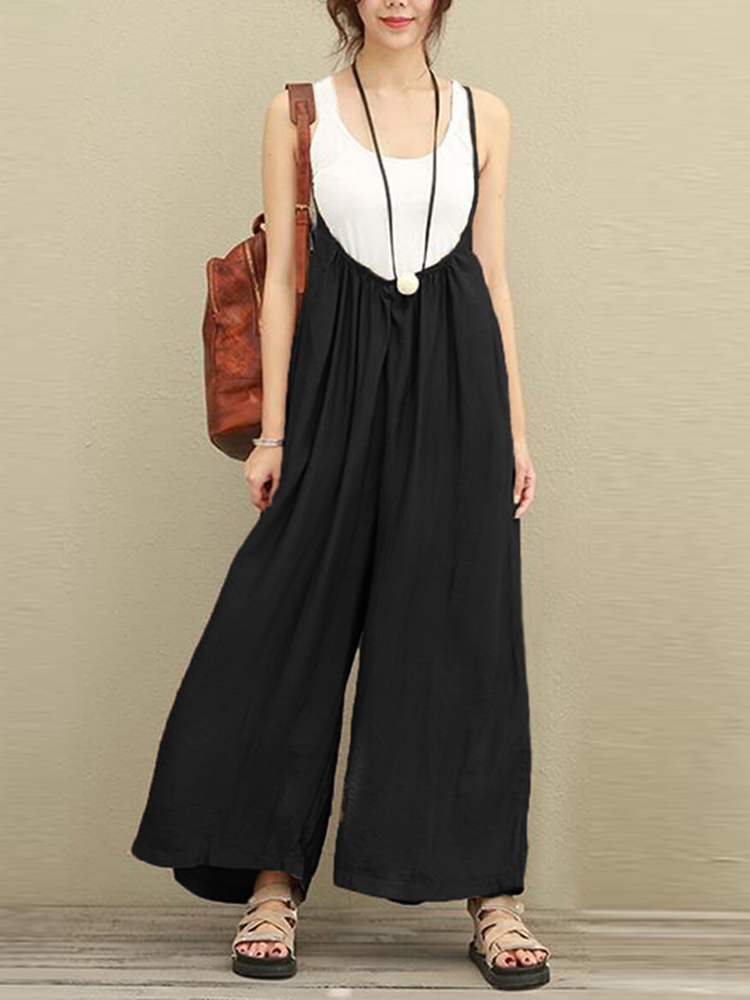 f2cff65de182 S-5XL Women Casual Sleeveless Strap Baggy Wide Leg Pant Jumpsuit ...