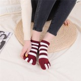 Women Cotton Color Five Toe Socks Wide Stripes Comfortable Toe Socks