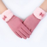 Women Elegant Winter Plush Warm Gloves Bow Lace Outdoor Windproof Christmas Mittens