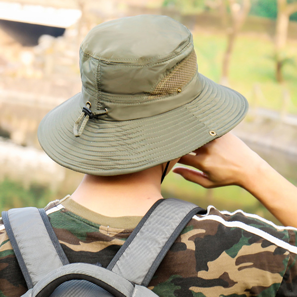 152c61adbc6 Mens Polyester Mesh Breathable Bucket Hats Fisherman Hat Outdoor ...
