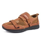 Men Breathable Comfy Mesh Hollow Outs Leather Sandals Hook Loop Shoes
