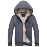 Men's Warm Thick Thermal Hoodies Autumn Winter Solid Color Zip Up Casual Jacket Coat
