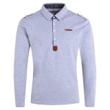 Mens Fashion Button Design POLO Shirt Spring Casual Lapel Insignia Long Sleeve Tops Tees