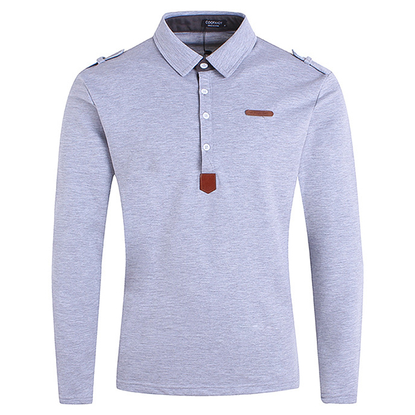 a39901026f Mens Fashion Button Design POLO Shirt Spring Casual Lapel Insignia Long  Sleeve Tops Tees