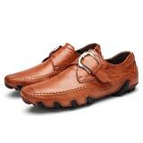 Men Casual Soft Hook Loop Genuine Leather Oxfords