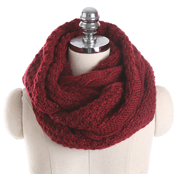 Women Solid Knitted Collar Scarves Warm Neck Scarves Neck Warmer Circle Scarf Windproof
