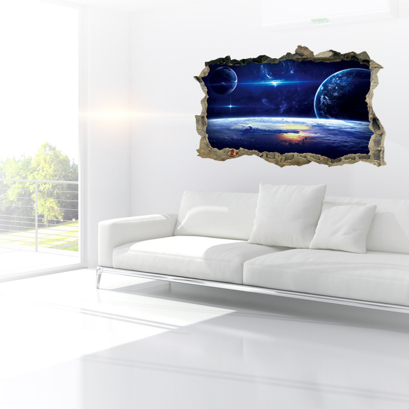 MIICO Creative 3D Universe Planet Broken Wall Removable Home Room ...
