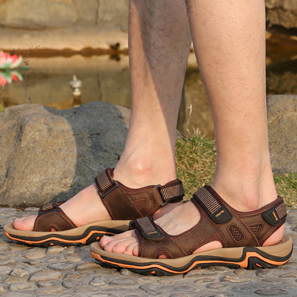 Men Comfy Wear Resistance Outsole Genuine Leather Breathable Hook Loop Sandals Beach Shoes