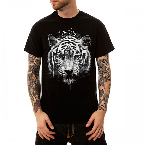 Men's Creative 3D Tiger Printed T-Shirts 100% Cotton Casual Loose O-neck Short-Sleeved Tops Tees