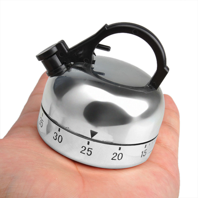 60 Minute Counting Teapot Shaped Timer Kitchen Cooking Mechanical Alarm Clock Timer