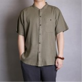 TWO-SIDED Mens Solid Color Casual O Neck Single Breasted Pocket Shirts