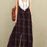Women Sleeveless Strap Dungaree Loose Plaid Harem Jumpsuit